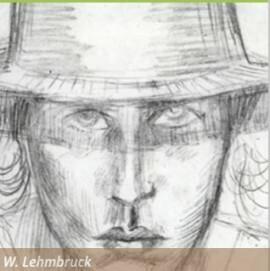 Wilhelm Lehmbruck, Frauenkopf mit hohem Hut, en face II, Zeichnung