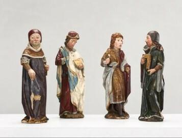 Konrad Kuyn, Die Vier Gekrönten (Bildhauer,  Werkmeister, Steinmetz und Polier), Epitaph des Dombaumeisters Nikolaus von Bueren, Köln, nach 1445