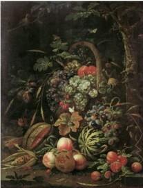 Abraham Mignon, Stillleben mit Fruchtkorb an einer Eiche