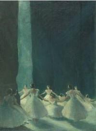 Ernst Oppler: Les Sylphides (Hinter den Kulissen), Öl/Lw., 1915