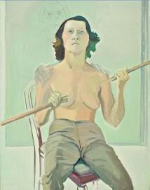 Maria Lassnig, Selbstporträt mit Stab, 1971