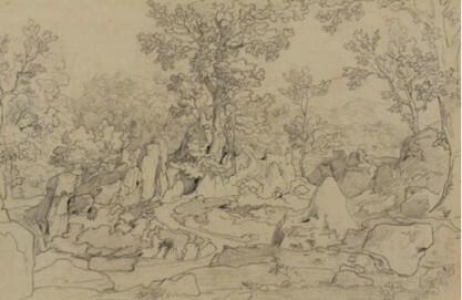 Johann Anton de Peters, Die Serpentara bei Olevano, Bleistift, auf Transparentpapier, Graphische Sammlung, Wallraf-Richartz-Museum & Fondation Corboud, Köln