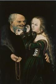Lucas Cranach d. Ä., Das ungleiche Paar. Malerei auf Buchenholz, 38,8 × 25,7 cm, Dauerleihgabe der Kunstakademie Düsseldorf
