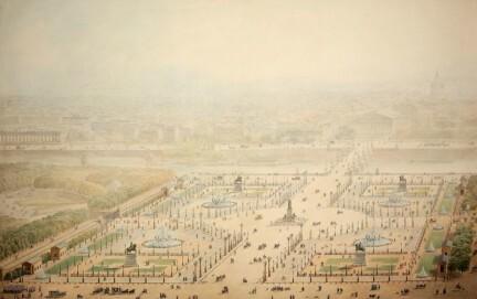 Jakob Ignaz Hittorff, Perspektivische Ansicht der Place de la Concorde, 1829, Aquarellierte Federzeichnung, Graphische Sammlung, Wallraf-Richartz-Museum & Fondation Corboud, Köln
