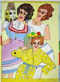Josef Wittlich, Drei Frauen vor Kirchturm.Die Frau links im Dirndl mit Obstkorb, die Frau hinten rechts im weißen Sommerkleid, die Frau unten im Vordergrund mit gelbem Bademantel, 1967
