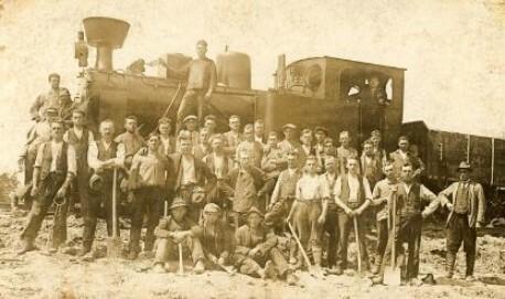 Ansichtskarte: Gleisarbeiten an der Umgehungsstrecke von Brynnek nach Mikultschütz, 1927