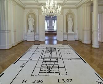 Ausstellungsraum 1 : 2, 2017; Teppich des Raumplans, 100% Wolle; 525 x 341 cm