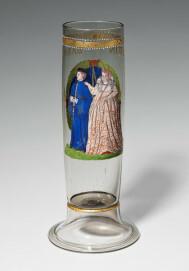 Stangenglas mit der Darstellung des Martin Barmet und seiner Ehefrau, datiert 1588, H. 29,5 cm, Sammlung Dr. Schicker, Berlin