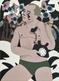 Alexander Basil, Wichtiges Telefonat, 2017, 130 x 95 cm, Öl auf Leinwand