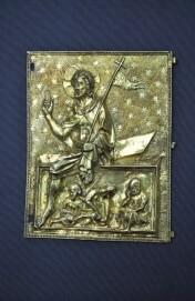 Vergoldetes Silberrelief mit der Auferstehung Christi, Frankreich, 14. Jh., Detail Reliquiendiptychon, Museum Schnütgen, Inv. G 693