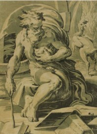 Uga da Carpi , Diogenes, um 1527, Farbholzschnitt, Graphische Sammlung, Wallraf-Richartz-Museum & Fondation Corboud, Köln