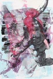 Pia Fries, corpus transludi D7, 2017, Acrylfarbe, Farbstift und Siebdruck auf Steinpapier auf Holz, Eigentum der Künstlerin