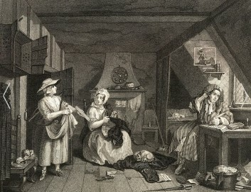 G. Presbury: The distressed Poet. Nach einem Gemälde von W. Hogarth, 19. Jh.