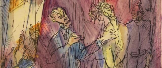 Fritz Schaefler, Seht den Menschen!, 1918, Aquarell und Tusche auf Papier, Clemens Sels Museum Neuss (Ausschnitt)