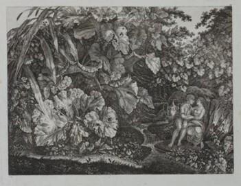 Carl Wilhelm Kolbe d. Ä. (1759 – 1835), Liebespaar in einer Grotte, umgeben von Pflanzen und Kräutern, um 1830-35, Radierung, 46,2 x 61,6 cm, Museum Kunstpalast, Düsseldorf, Inv. Nr. 1928-1917