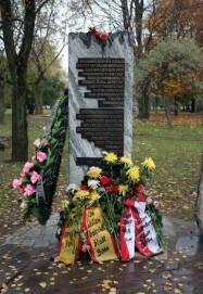 Einweihung des Gedenksteins für die aus Köln, Bonn, dem Siegkreis und weiteren Orten des Rheinlands nach Trostenez Deportierten in Minsk am 22.10.2008