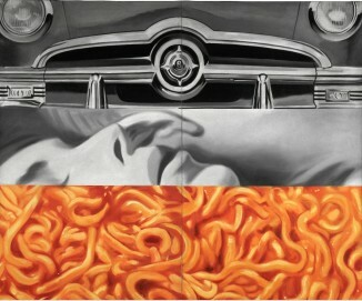 James Rosenquist, I Love You with My Ford, 1961, Öl auf Leinwand, 210,2 x 237,5 cm, Moderna Museet, Stockholm