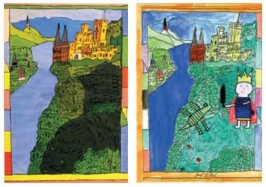 Josef Wittlich, Burg Stolzenfels am Rhein, 1968/69, Kaseinfarbe auf Papier Clemens Sels Museum Neuss