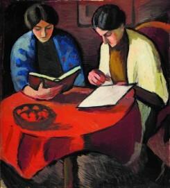 August Macke, Lesende Frauen am Tisch, 1910, Öl auf Leinwand, auf Pappe aufgezogen, 64,5 x 58 cm, Museum August Macke Haus, Dauerleihgabe aus Privatbesitz.