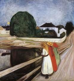 Edvard Munch, Die Mädchen auf der Brücke, Öl auf Leinwand, 100 x 90 cm 1927