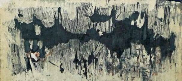 Reinhold Koehler, Ohne Titel, 1958 VII 2, Tusche und Feder, teilweise stark verwaschen, Abrisse und Kratzungen auf Zeichenpapier; aus dem Nachlass