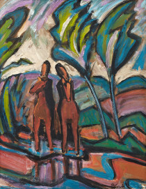 Helmuth Macke Zwei Reiter im Park, 1914, Öl auf Pappe, 50 x 41 cm Kunstmuseum Ahlen, Leihgabe aus Privatbesitz