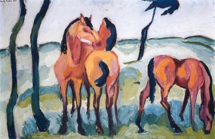 Helmuth Macke Drei Pferde, 1913, Öl auf Leinwand, 42,5 x 65,5 cm, Privatbesitz