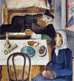 Jankel Adler, Sabbat, Düsseldorf 1925 Öl auf Leinwand, Mischtechnik, Sand auf Leinwand 120 x 110 cm Jüdisches Museum Berlin
