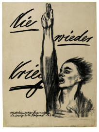Käthe Kollwitz, Nie wieder Krieg, Plakat zum Mitteldeutschen Jugendtag in Leipzig 2. – 4. August 1924, Kreide- und Pinsellithographie