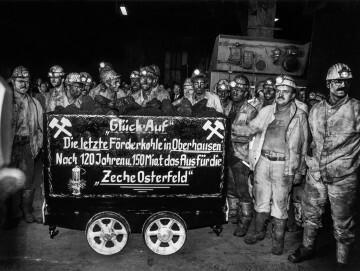 Letzte Schicht auf der Zeche Osterfeld, Oberhausen, 1992