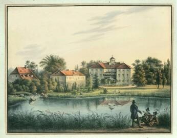 Schloss Erdmannsdorf vor dem Umbau 1843, Lithografie von C. Mattis