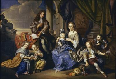 JACOB TOORENVLIET (Leiden 1640 – 1719 Oegstgeest), Dirck Toorenvliet und Familie, 1687/1694, Öl auf Leinwand