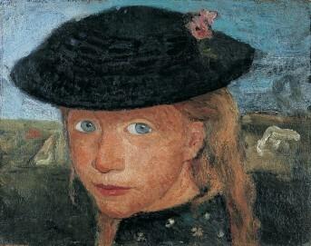 Paula Modersohn-Becker, Kopf eines kleinen Mädchens mit Strohhut, um 1905
