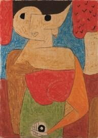 Paul Klee, Omphalo-centrischer Vortrag, 1939, Kreide und Kleisterfarbe auf Seide auf Jute, 70 x 50,5 cm, Kunstsammlung Nordrhein-Westfalen