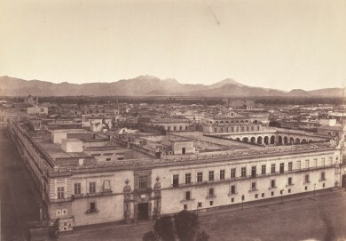"""Paul de Rosti: Mexiko-Stadt aus dem Album """"Fotografische Ansichten aus Mexiko und Venezuela 1857–1858""""; Geschenk an Alexander von Humboldt 1858, 1857–1858"""