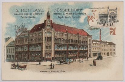 Produktion und Verkauf an einem Ort:  Warenhaus Hettlage in Düsseldorf, vor 1898.
