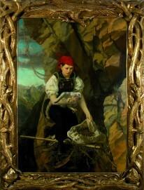 Anna Stainer-Knittel,  Selbstbildnis im Adlerhorst (Privatbesitz), 1864, Öl auf Leinwand, 215 x 165 cm
