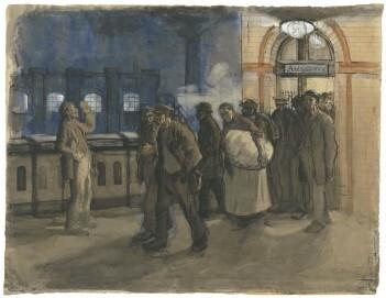 Käthe Kollwitz (1867-1945), Arbeiter vom Bahnhof kommend, (Bahnhof Prenzlauer Allee), 1897–1899, Pinsel in Wasserfarben