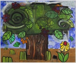 Carroll Dunham: New Time Storm, 2009, Acryl auf Leinwand, 190.5 x 228.6 cm