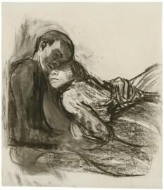 Käthe Kollwitz, Liebespaar, sich aneinander schmiegend, 1909/10, Kohle, gewischt, auf grauem Ingres-Bütten, NT 559, Kölner Kollwitz Sammlung