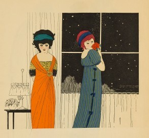 Paul Ibre, Illustration aus Les Robes du Paul Poiret, 1908, Pochoir über Strichätzung