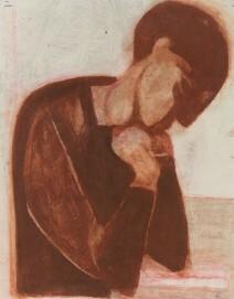 Heinrich Seepolt, Selbstportrait lesend (rostrot)